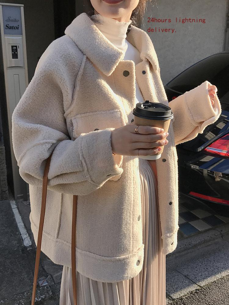 Ранняя весна против овчины пальто женский новый свободный плюшевый шкур рубашка 201126