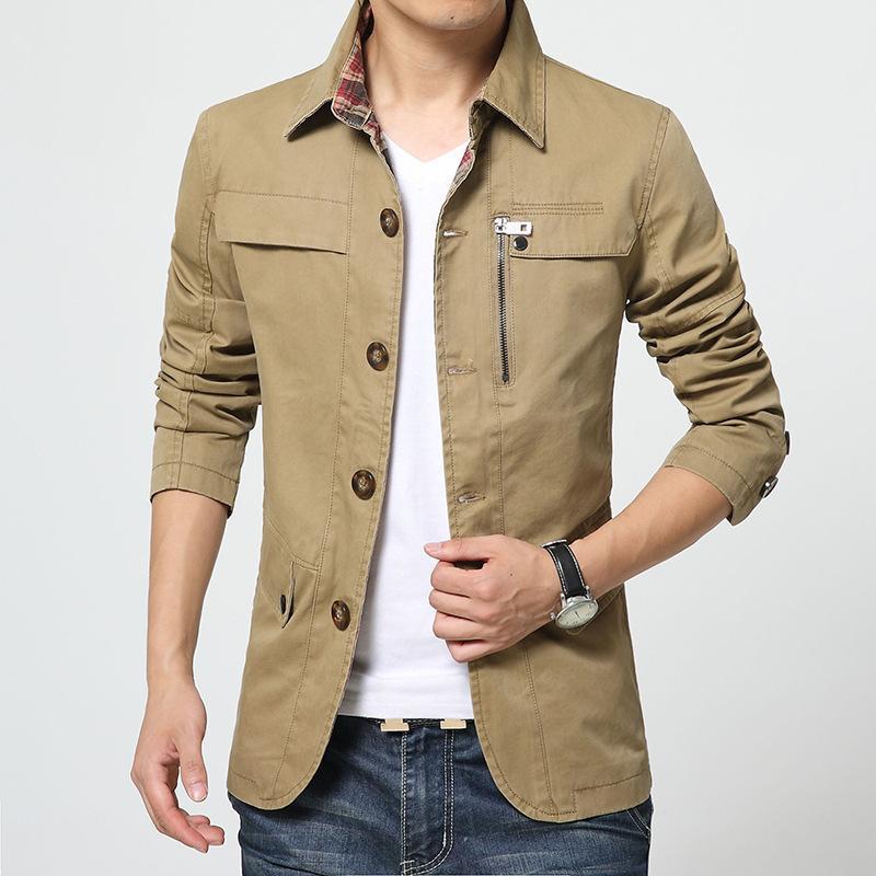 Jacket Men Cotton Solide Mode schlanke Bomberjacke Männer Frühlings-Herbst-beiläufige Mäntel für Prom Fashion Entwurfs-Qualität