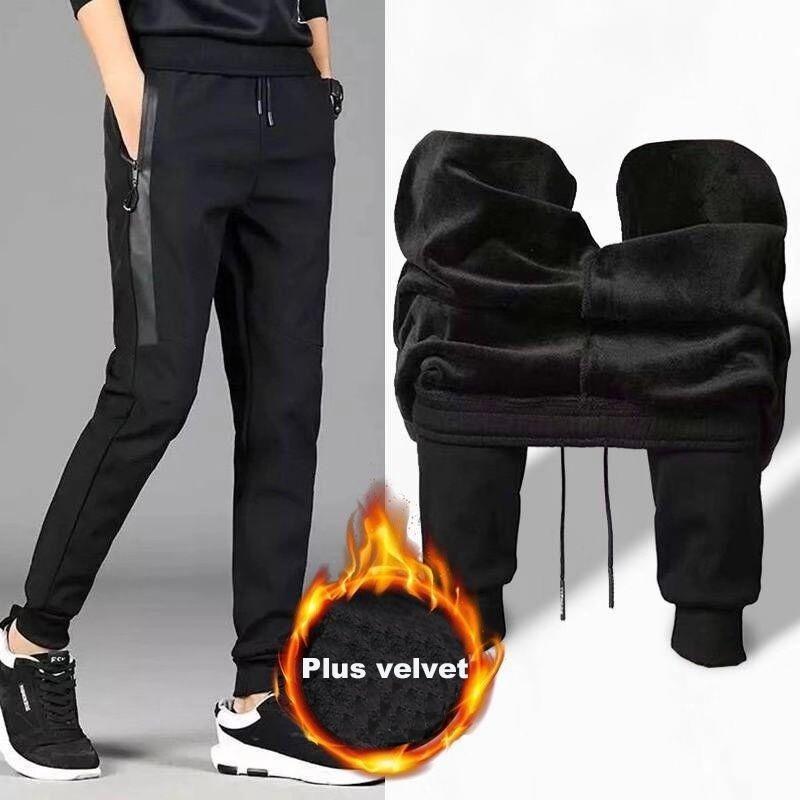 new Men Pants winter casual full length Plus velvet Men Elastic Straight Trousers Size M-5XL 201118