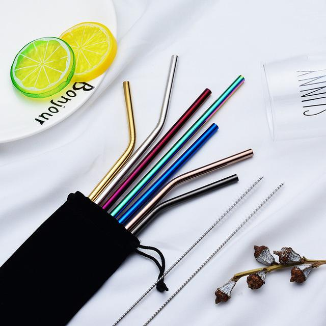 6*215mm 304 Stainless Steel Bent And Straight Reusable Straws Metal Straw Cleaner Brush Bar Drinking Tool DHD2344