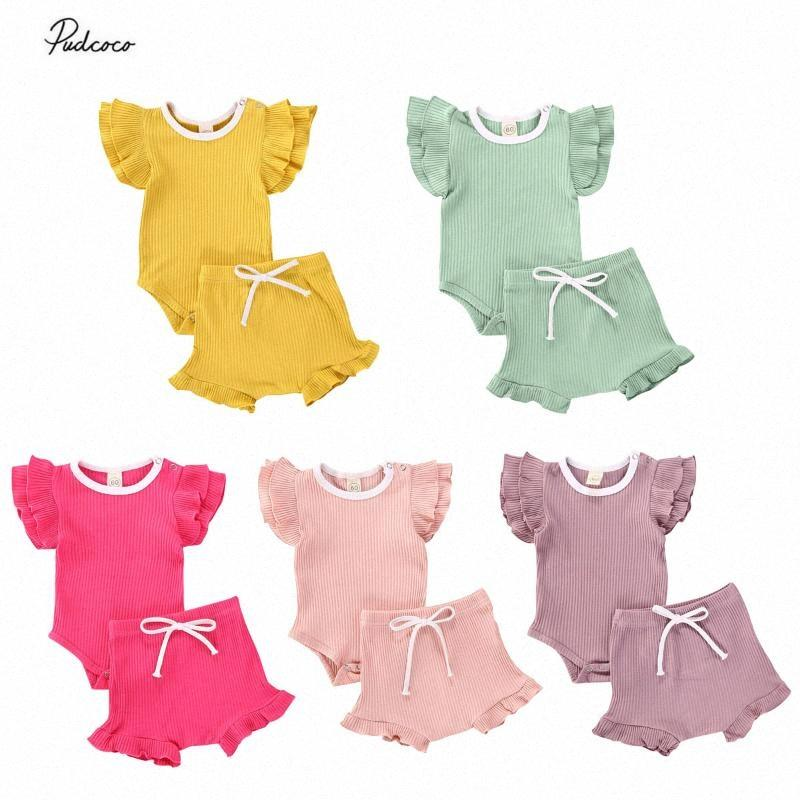 0-18M Newborn Infant Kids Baby Girl Clothes Summer Knitted Ribbed Ruffle Sleeve Bodysuit Tops Shorts Pants Outfits 2Pcs Set WRpV#