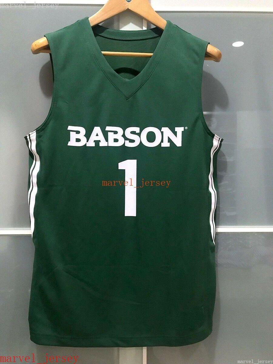 100% прошитые Babson College Beavers # 1 Мужские Женщины Молодежный Баскетбол Игра Джерси Зеленый XS-6XL Дешевый
