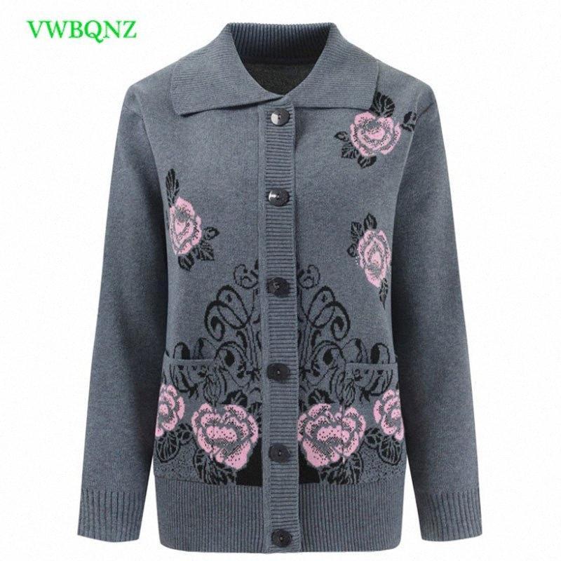 roupas tamanho Plus Mulheres Impressão de meia-idade malha Camisolas Primavera Outono solto Knit Cardigan de Mulheres Cardigan Sweater 4XL 71 Y2007 b9wM #