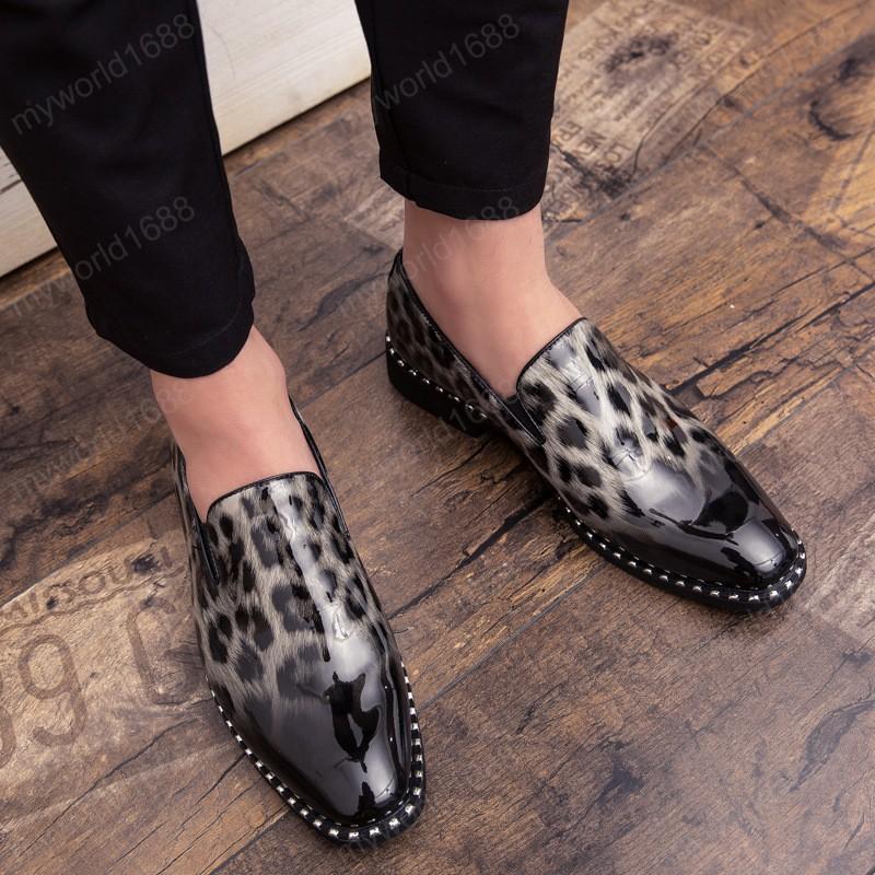 Дизайнерская Англия Стиль Мужчина платье Обуви мужской повседневной обуви Leopard Мужской обувь Формальной Остроконечные Toe полуботинки