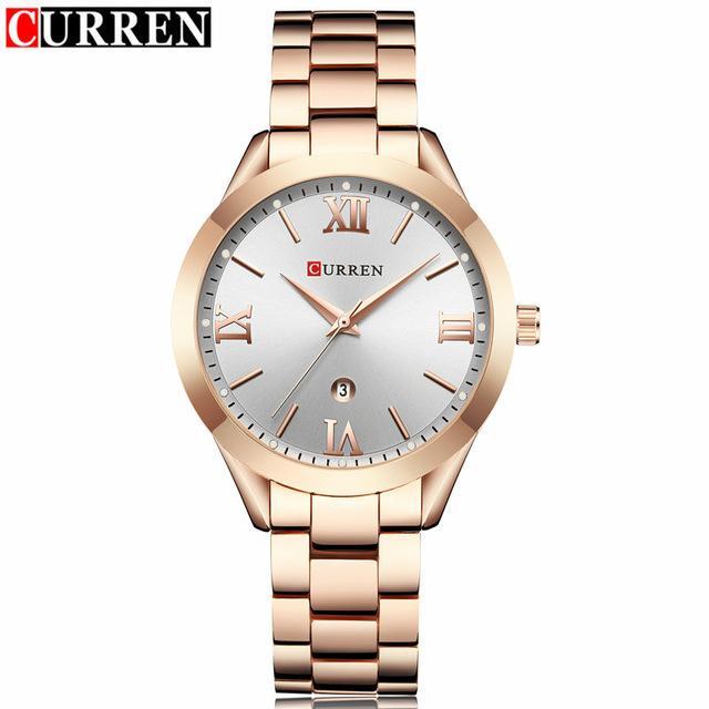 Lüks Moda Gül Altın İzle Kadın Kuvars Saatler Bayan Elbise Kol Bayanlar Kadın Kız Saat Reloj Mujer