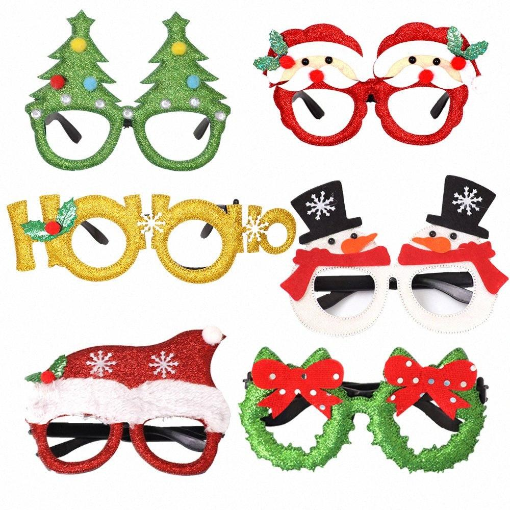 2020 New Year Christmas Decorations For Home Party Santa Claus Snowman Deers Glasses Frame Christmas Ornaments Gifts Supplies 4QPF#