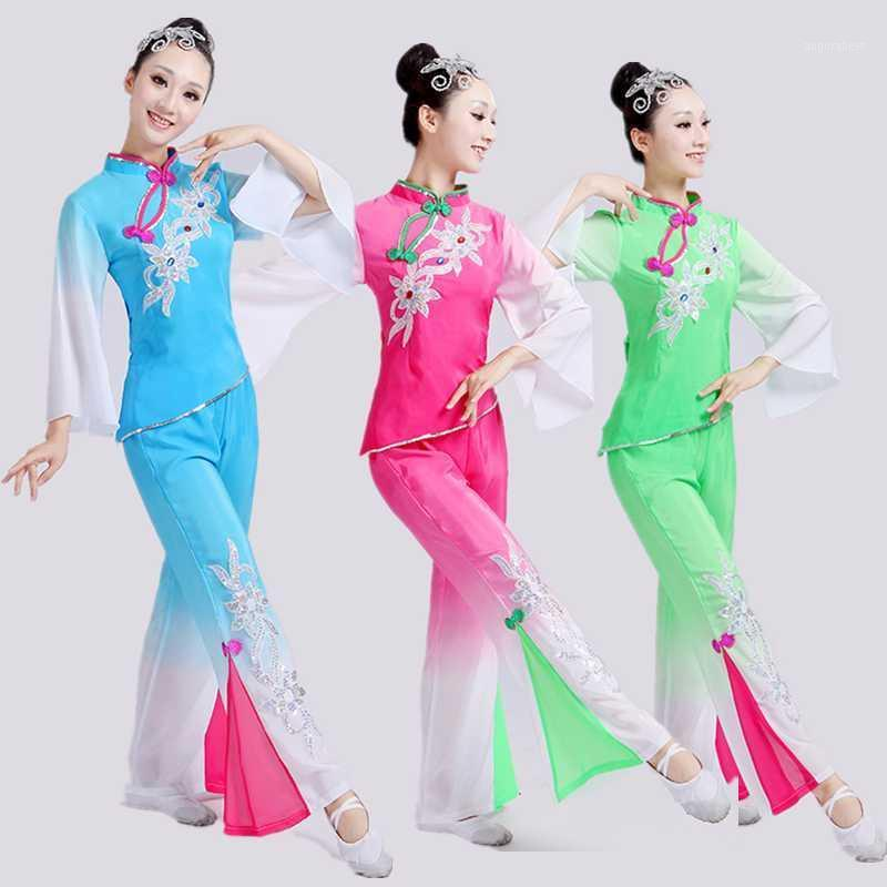 Style chinois Hanfu Fan Dance Yangko Vêtements Vêtements Costumes National Dance Performance Vêtements Chinese Costume Folk Chinois pour femme1