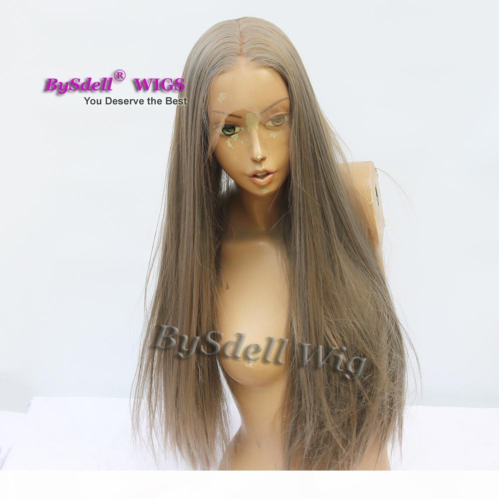 çelik gri renk saç peruk sentetik uzun ipeksi düz dolu el bağladılar saçı tam dantel peruk Kadın Cosplay nine gri saç peruk