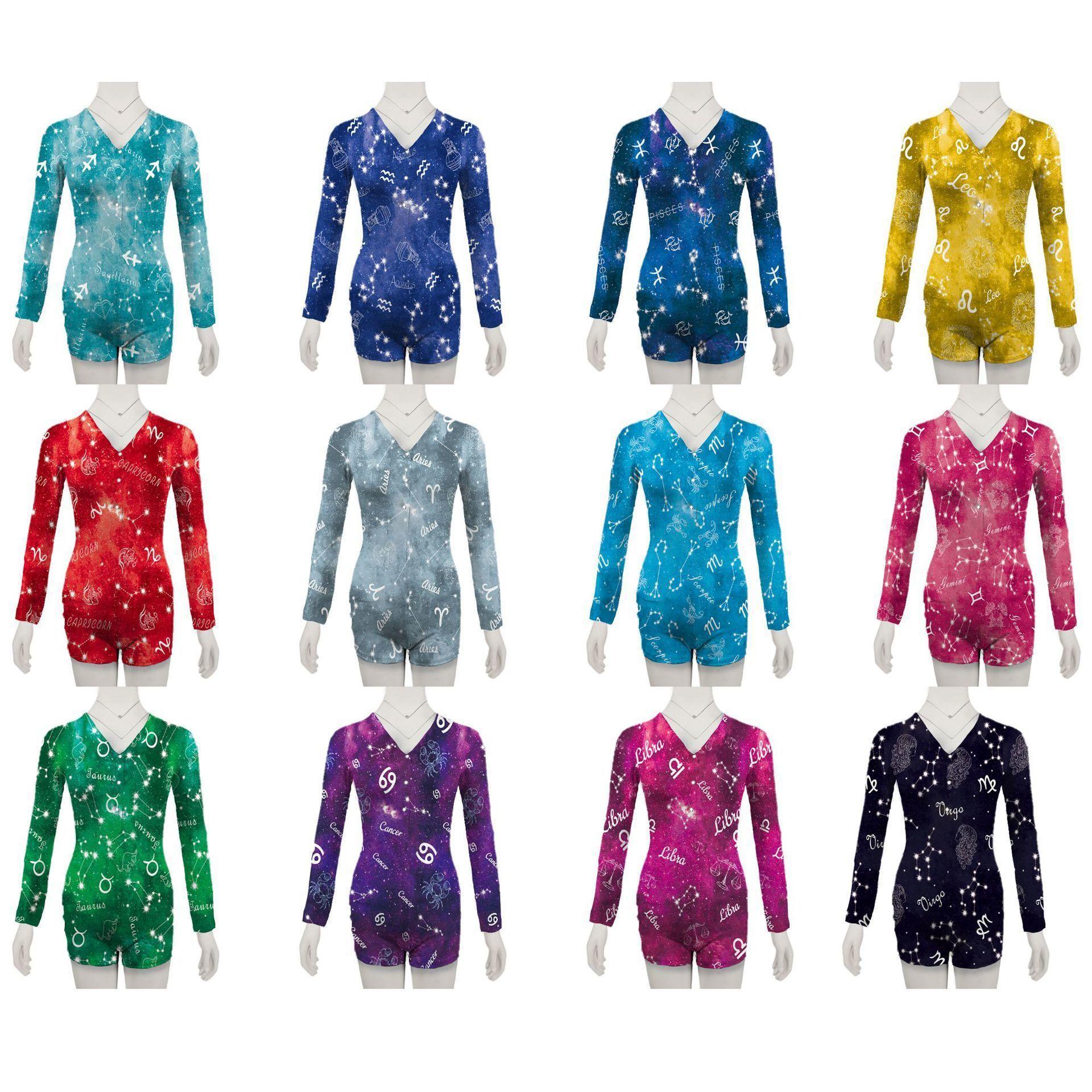 Женские комбинезоны Сексуальные платья Тонкие двенадцать созвездий напечатаны с длинными рукавами Pajamas Deep V-образным вырезом Ночной клуб Женские Плотные Rompers DHL