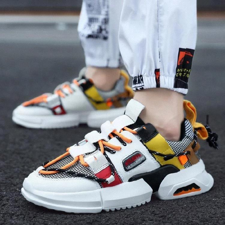 Spring Harajuku Autumn Kanye West Dad Sneakers Men Cross-tied Mesh Casual Shoe Fashion Sports Tenis Masculino Adulto Sneakers #Ba5J