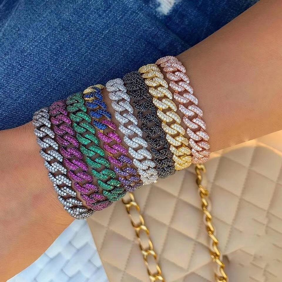 Luxury Link Chain Bracelets Bangles Cubic Zircon CZ Vintage Bohemian Cuff Bracelets For Women Femme Fashion Jewelry S0692 0930