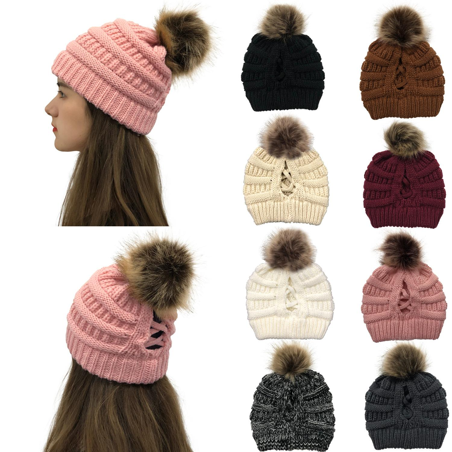 2020 New winter female knit wool cap with detachable back opening horsetail knit cap with ball 8 color optional