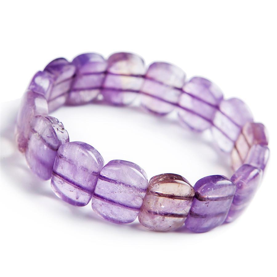 Подлинная Природные Фиолетовый Ame трин Gems Камень исцеления Кристалл браслеты Женщины Lady Stretch Прямоугольник бусы браслет моды браслет
