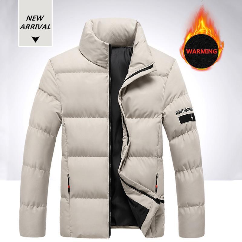 Marka Erkekler Kış Aşağı Coat Katı Renk Kalınlaşmak Erkek Pamuk Parka Moda Kabanlar Sıcak Streetwear Ceket Erkek 5XL