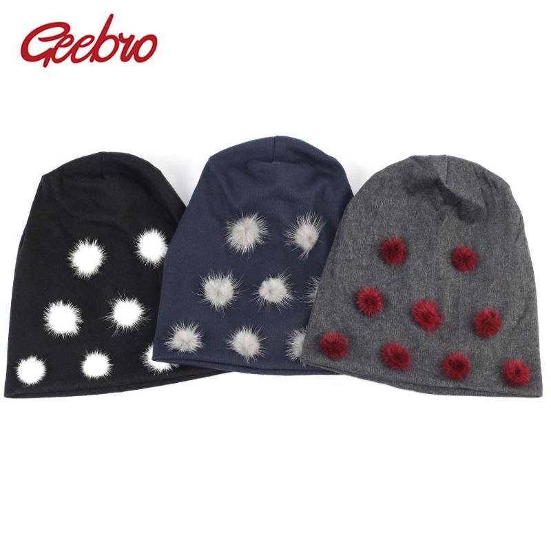 Mütze / Schädel Caps Geebro Winter Frauen Mütze Hut mit Pompom Plain Baumwolle Slouchy Mützen Pompons Skululiesbeanies Chapeau Femme