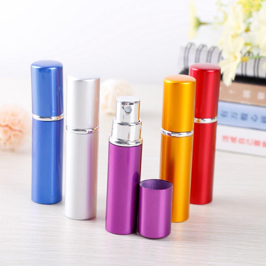 5ml Portable Mini Aluminum Refillable Perfume Bottle With Spray Empty Makeup Containers With Atomizer For Traveler Sea Shipping RRA4015