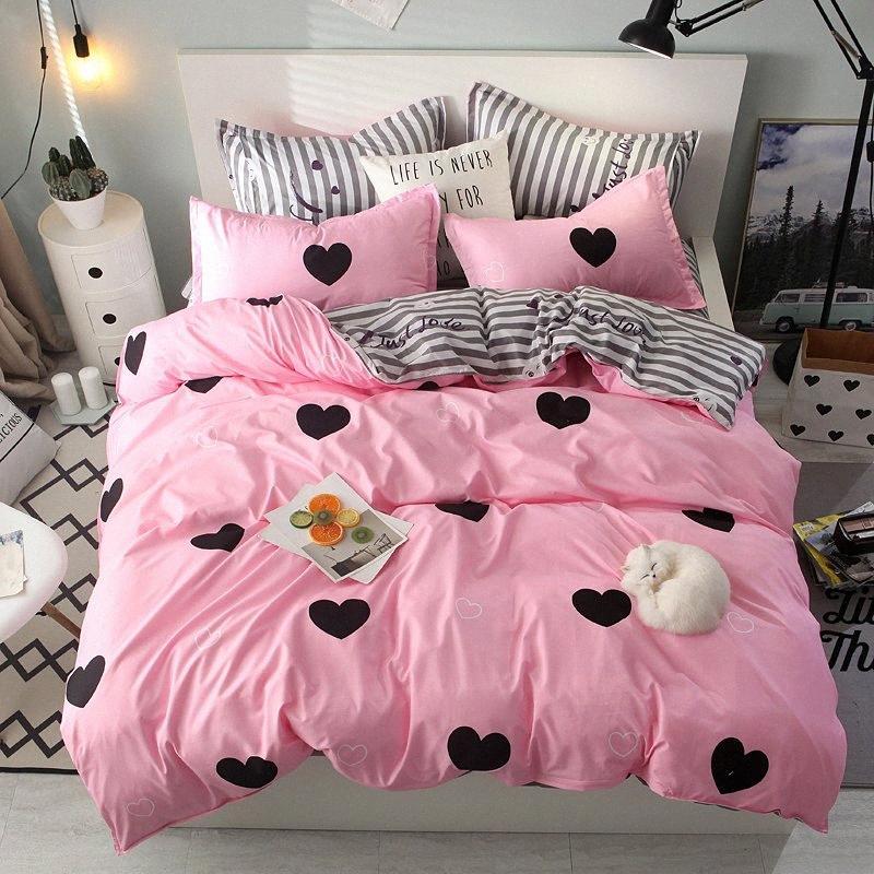 28 Розовый цвет сердца Printed кровать двухспальная кровать King Size Комплект постельных принадлежностей Пара кровать Набор Одеяло Обложка листы q8KT #