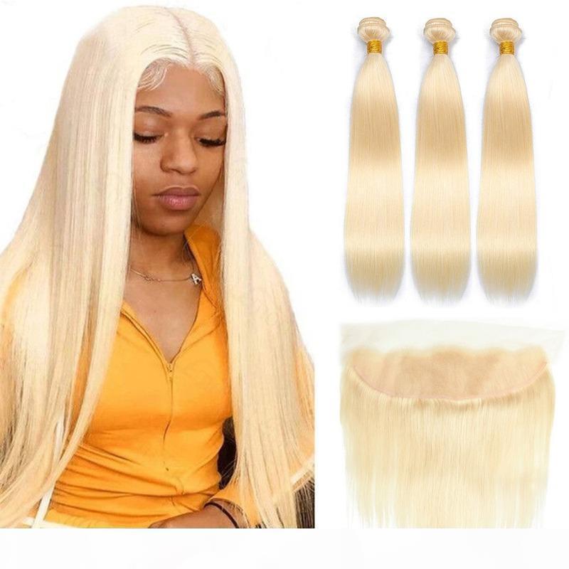 Blonde Bündel mit Frontal Straight Haar 613 Bündel mit Frontalverschluss Brasilianische Haarwebart Bündel 13x4 HD Spitze Frontal