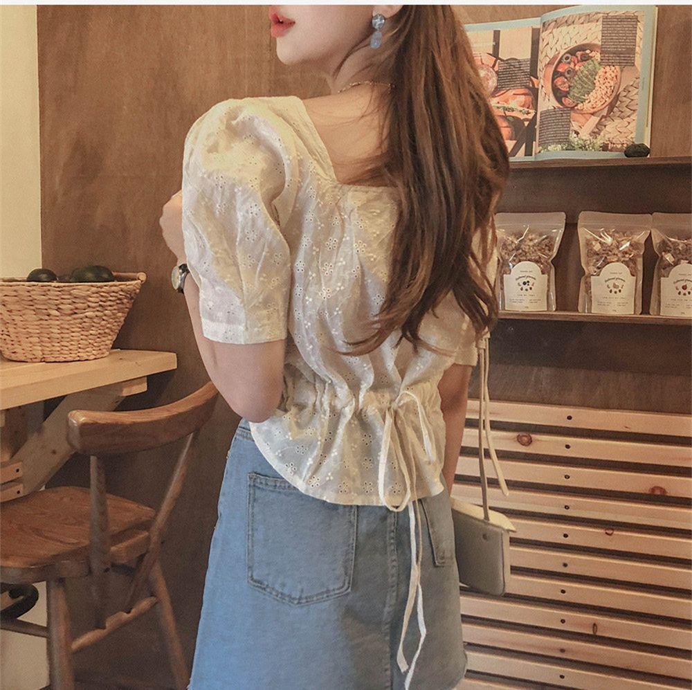 Yeni Kare Nakış Dantel Gömlek Yaz Tops Femme Rahat Kadın Kısa Kollu Keten Pamuk Kız Bluz Artı Boyutu Kadın Bluzlar Q0112