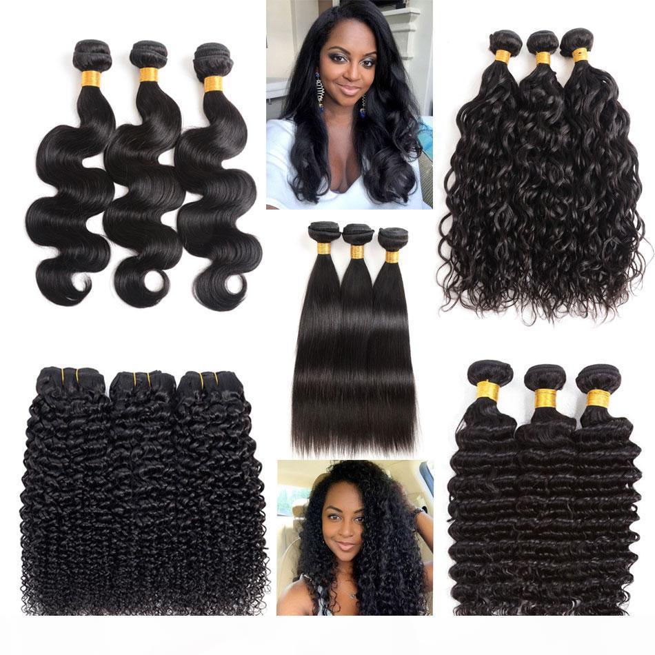 Cheveux vierges brésiliens 3 bundles ondes corporelles vague d'eau droite vague profonde vague kinky boucly 8a péruvien péruvien malaisien indien cheveux humains tissé
