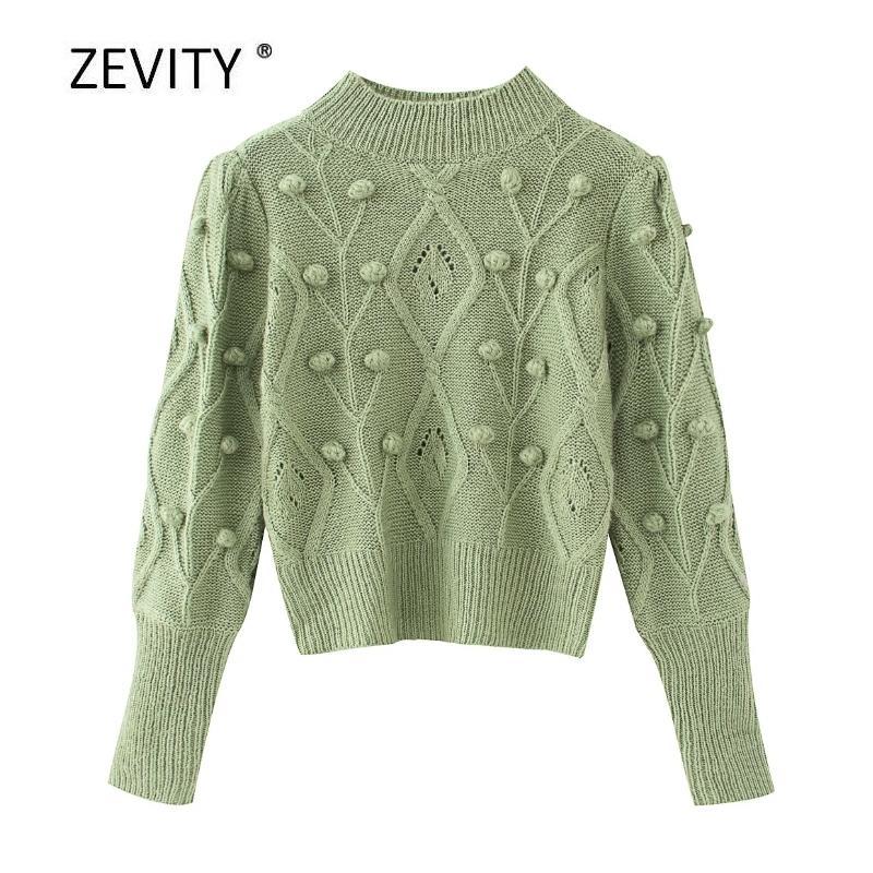 Zevity yeni bayan moda düz renk topu Aplikler örgü kazak bayanlar uzun gündelik kazak şık kazak S309 201.016 üstleri manşonlu