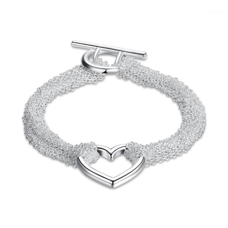 Braccialetti di fascino Catena nappa mesh per le donne Argento-colore gioielli di moda 20cm multi link con braccialetto a sospensione cuore cavo regalo1