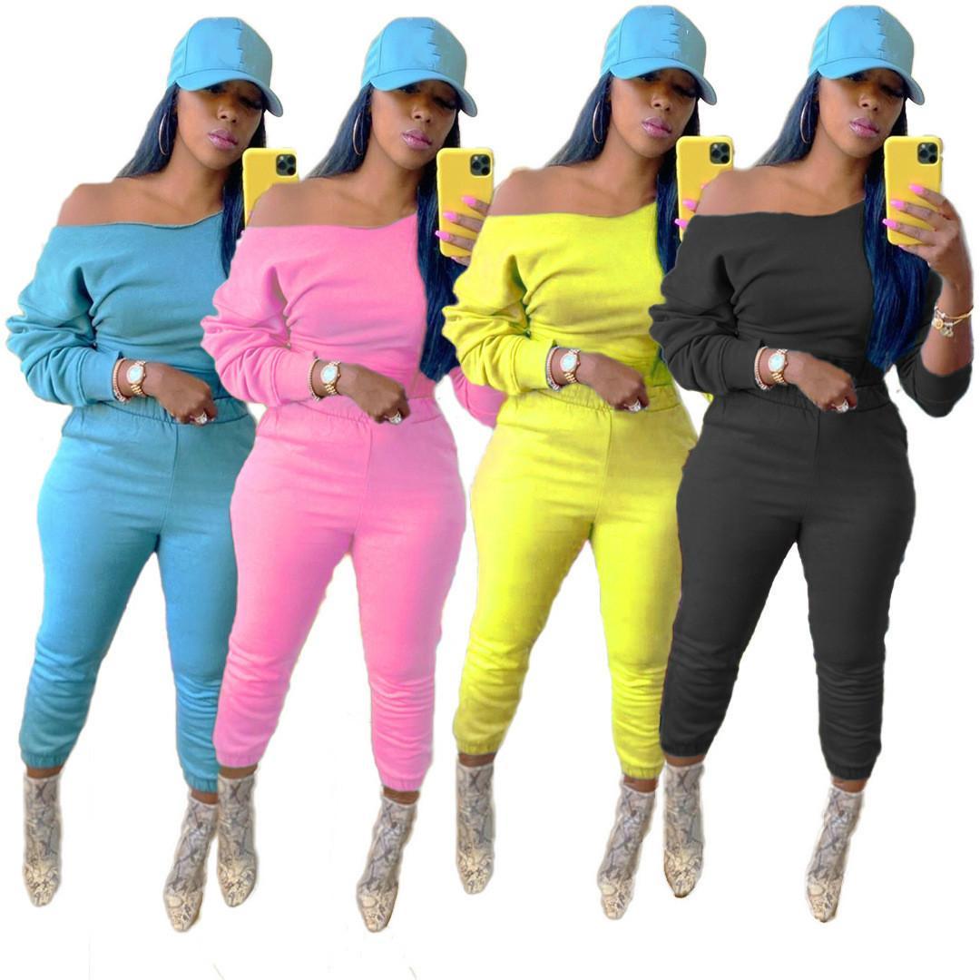 2020 sonbahar kış bayan omuz kapalı Parçalar kıyafetler düz renk düz renk dimi pamuk kazak seti, S-XXL set sportsuit yedekte