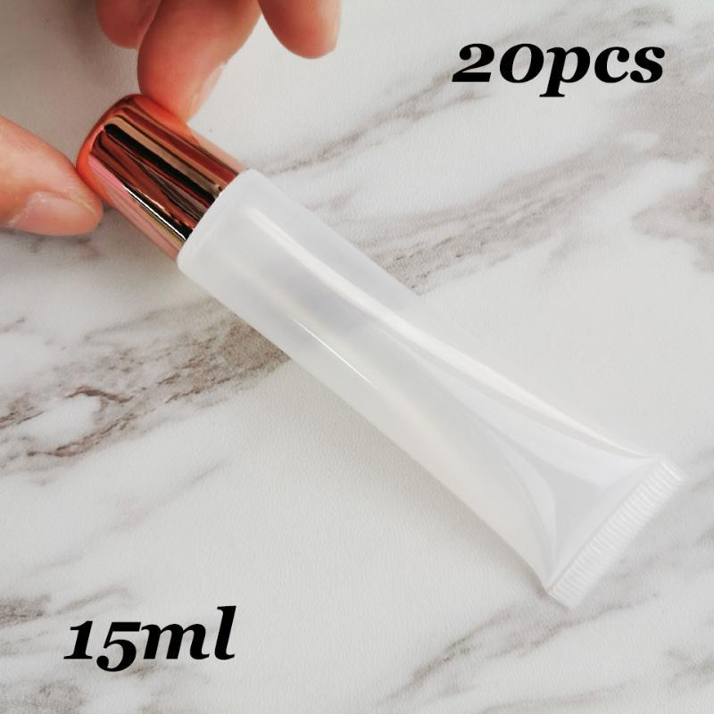 20pcs/lot 15ml Makeup Squeeze Rose gold Top Empty Lipgloss Lipstick Clear Tube Lip Gloss Soft Container for DIY Cosmetics