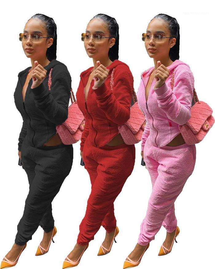 Женская молния с капюшоном толстовки и брюки карандаш Осень Мода Повседневная Женщины 2 шт техники Твердые Цвет плюша Два Брюки Часть
