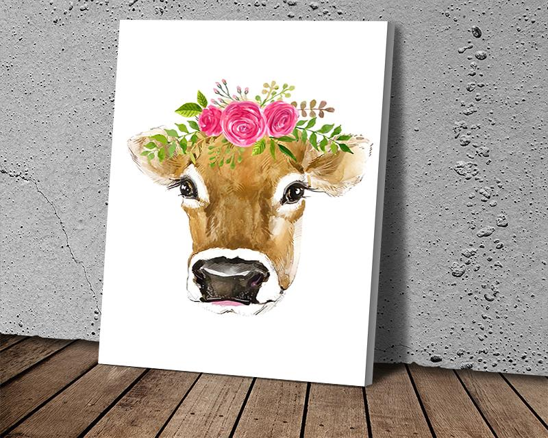 Modern Cow Head with Flowers Art Canvas Paintings on The Wall Art Posters and Prints Fashion Street Art Pictures Home Wall Decoration