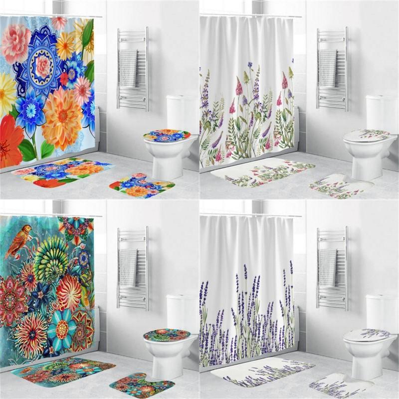 방수 욕실 세트 3D 인쇄 꽃 샤워 커튼 화장실 매트 4pcs 세트 흡습성 홈 액세서리 50ZH G2
