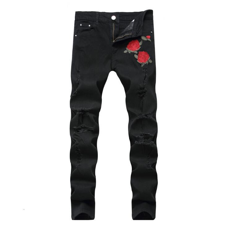 Pantalones vaqueros de bordado de rosa Moda de alta calidad azul negro marea masculina Pantalones delgados