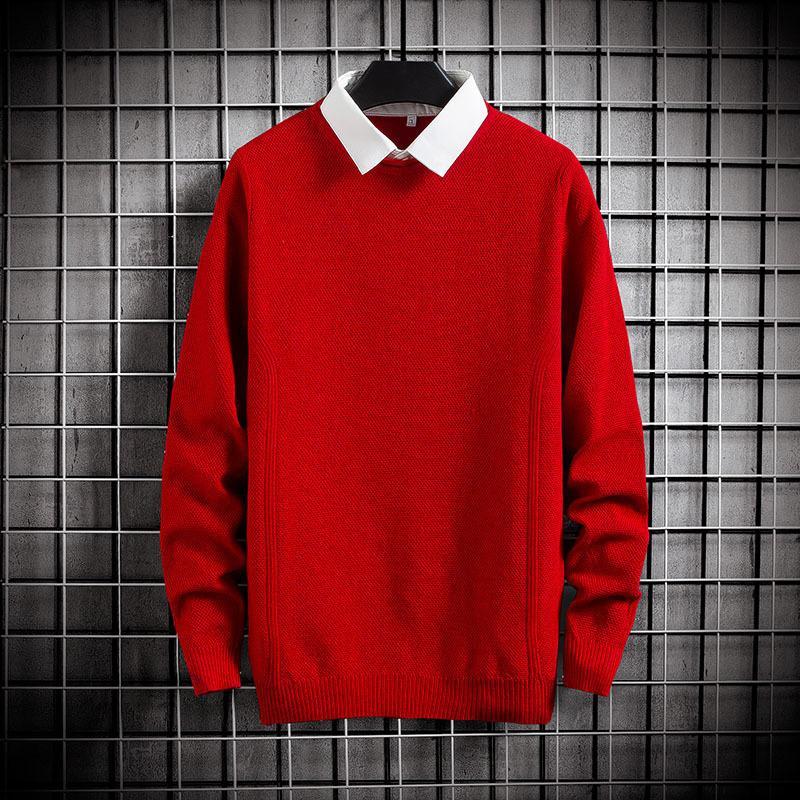 Fit вязаные мужские поддельные две части сплошной пуловер свитер рубашка подтягивает с длинным рукавом джемпер осень мужские свитеры пуловеры новые 201118