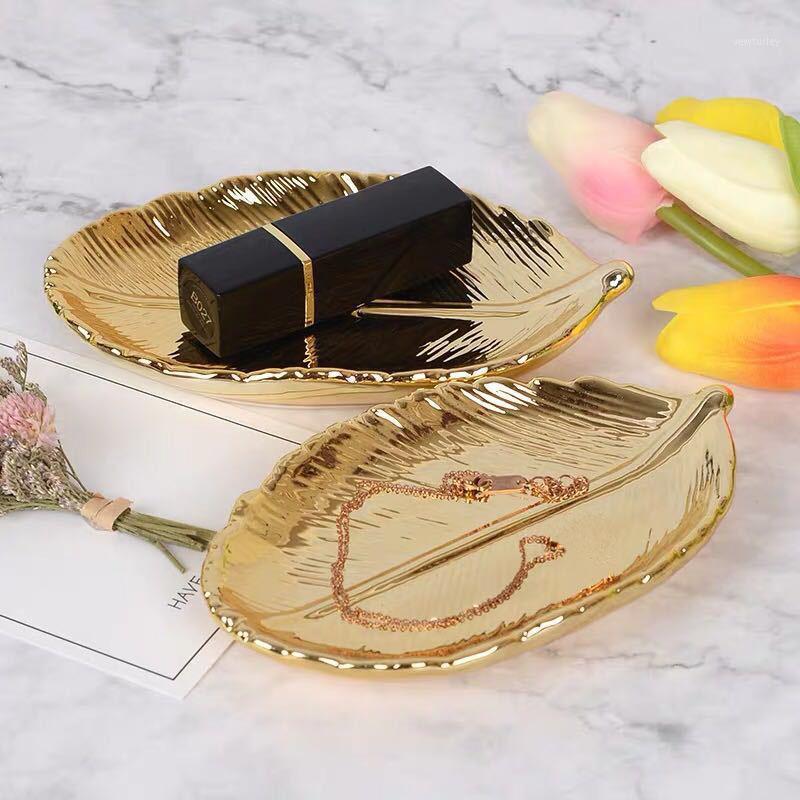 Cocina Almacenamiento Organización Decorativo Oro Hoja Cerámica Plato Plato Porcelana Caramelo Trinket Joyería Fruta Sirviendo Tray Vajilla Vajilla