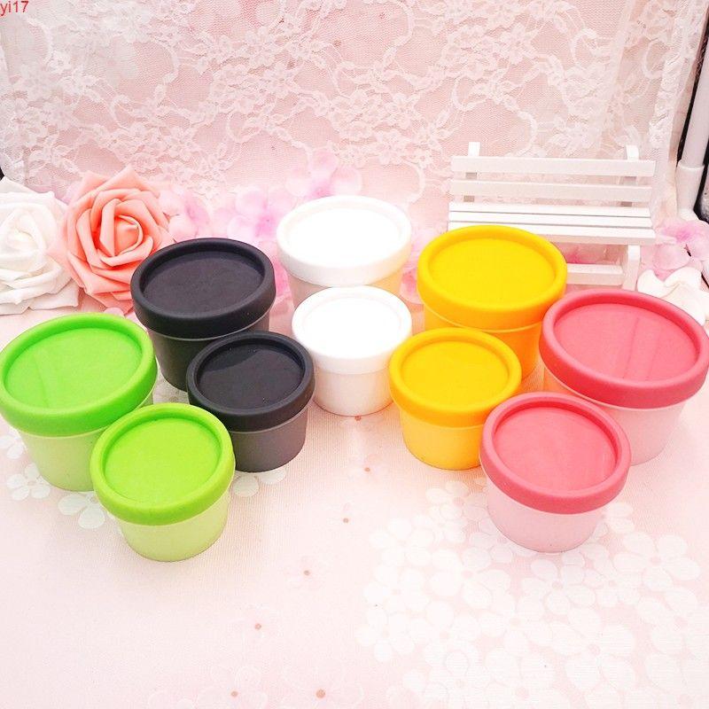 20 stücke 100g leerer kosmetischer kosmetischer container, grün / rosa / orange / dunkelgraues Glas, kleines Probe-Make-up-Sub-Abfüllnagelpulver CaseHigh-Qiantity