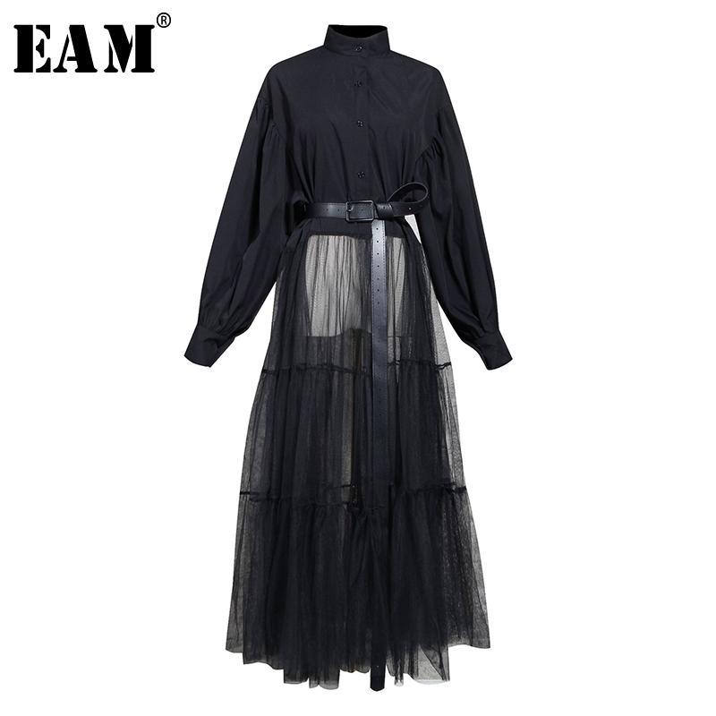 [EAM] Женщины Black Hem Сетка Сплит Большой Размер Блуза Новый Стенд Воротник С Длинным Рукавом Свободная подходящая Рубашка Мода Весна Осень 1N879 201013