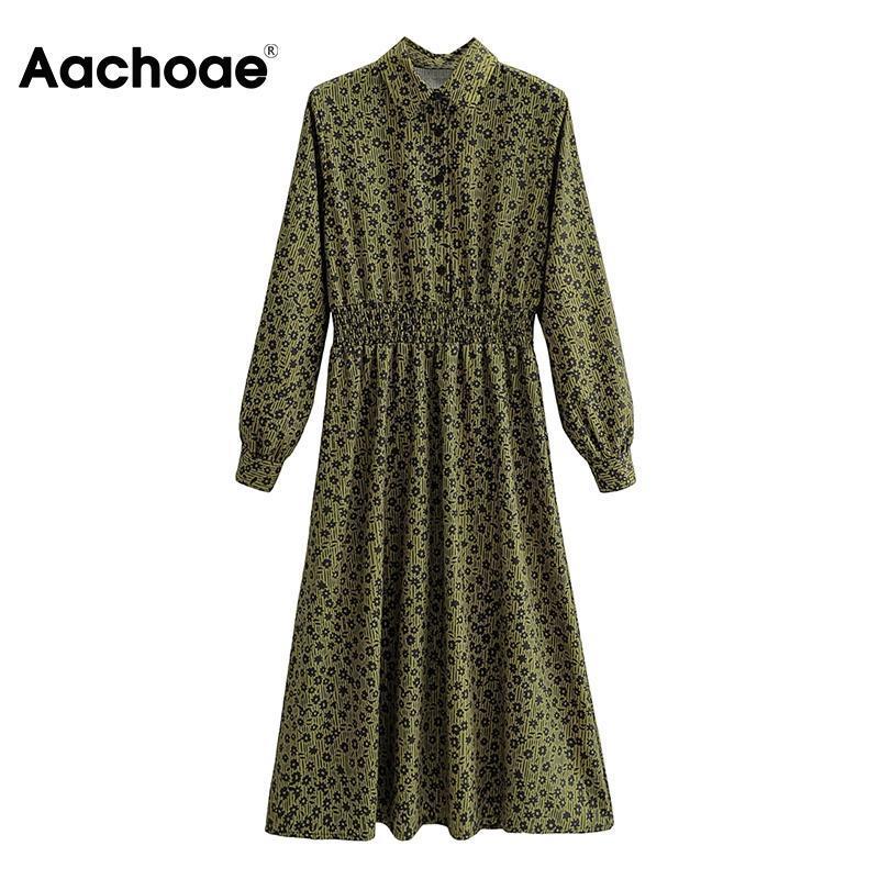 Aachoae Élégant Robe De Chemise Robe De Chemise Collier Femme Floral Imprimer A-Line Robe de bureau à manches longues Robes décontractées élastiques