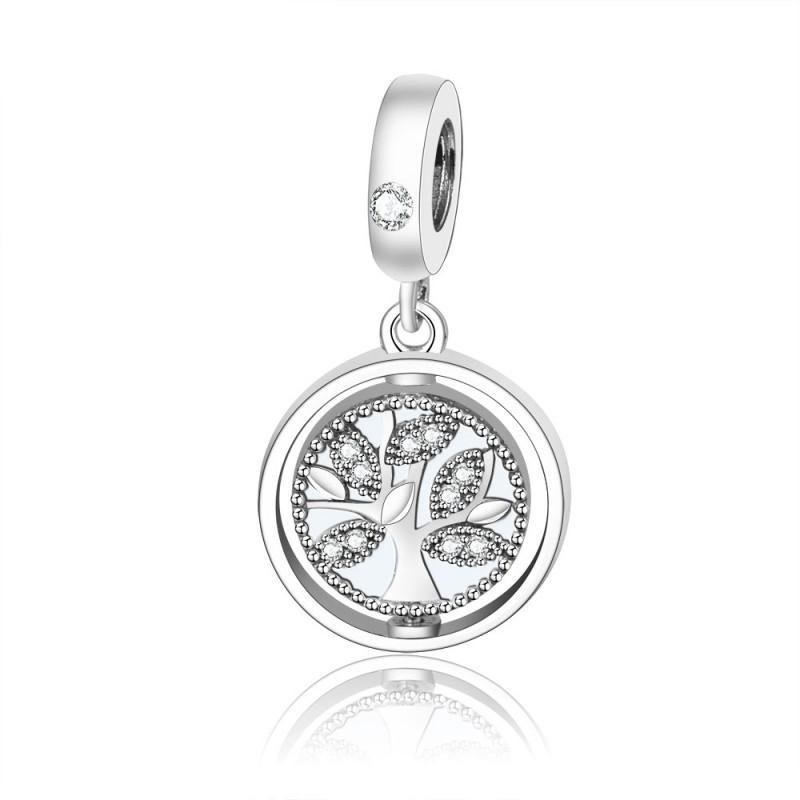 New Real 925 Sterling Silver Charm Spinning Árbol de la vida con Crystal Dangle Charm Pendant Beads Fit Charm Bracelet Bangle DIY Joyería