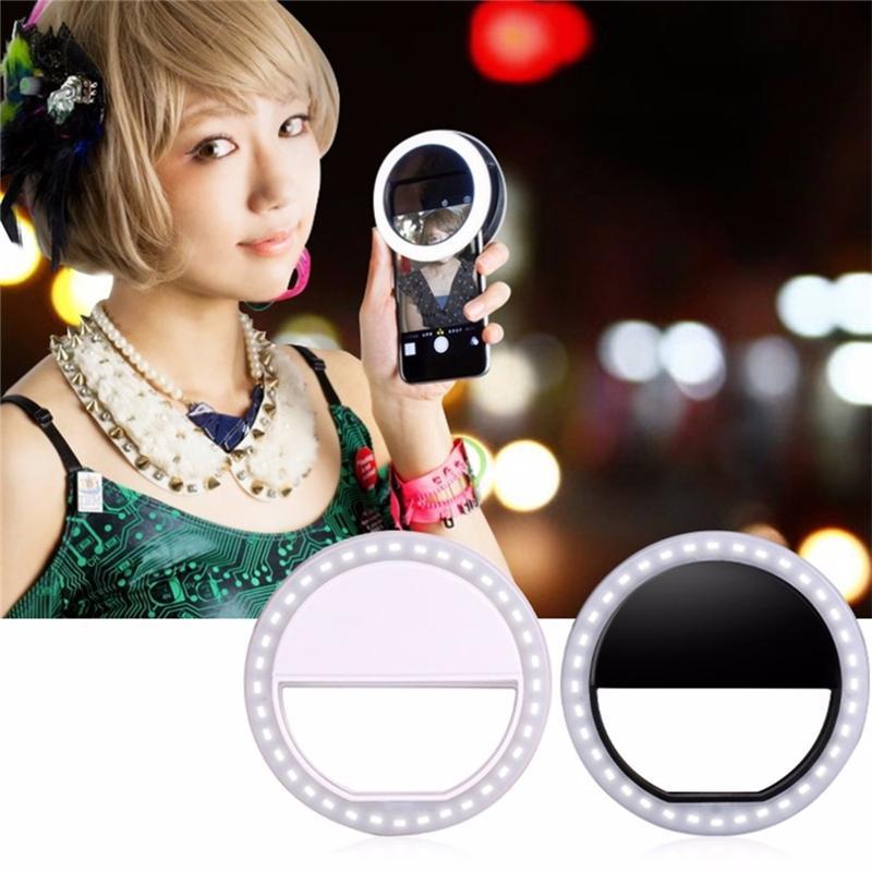 Mobile Phone Light Clip Selfie LED Auto Flash For Cell Phone Smartphone Round Portable Selfie Flashlight Makeup Mirror DDE2119