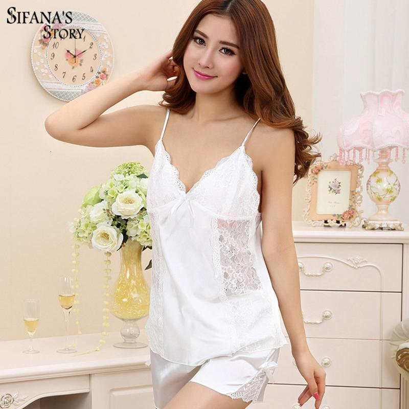Damen Frauen Pyjama Satin Seidenkleid V-ausschnitt Sleeveless Pijama Set Lace Pyjama Sommern Night Sleep Sexy Y18102205 Nachtwäsche für WJDGV