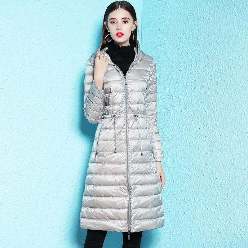 Kış Ceket Kadınlar 90% Beyaz Ördek Aşağı Ceket Orta Uzun İnce Kapşonlu Parkas Kadınlar Ultra Işık Aşağı Ceketler Rahat Dış Giyim