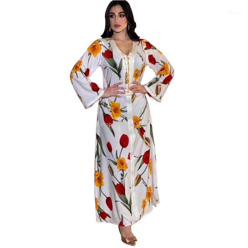 Повседневные платья белое цветочное платье для женщин мода ленты v шеи с длинным рукавом арабский дубай мусульманская индейка одежда плюс размер 20211