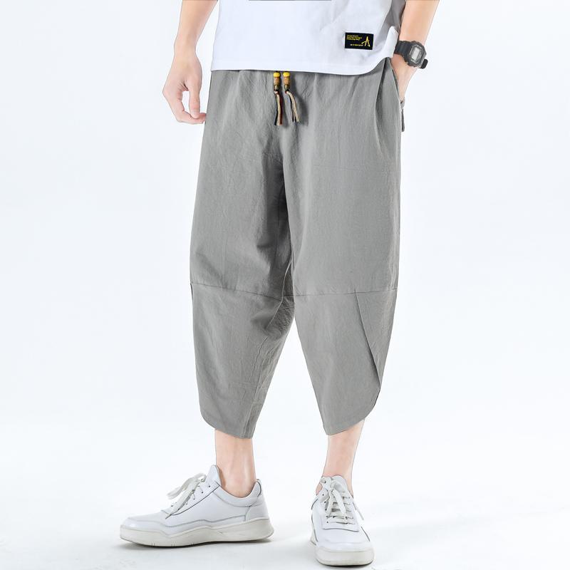 Pantalons Hommes Pantalons Homme Harem Pantalons Harem Loose Grand pantalon Croppé Planches à jambes larges Bermudes Masculina Mâle