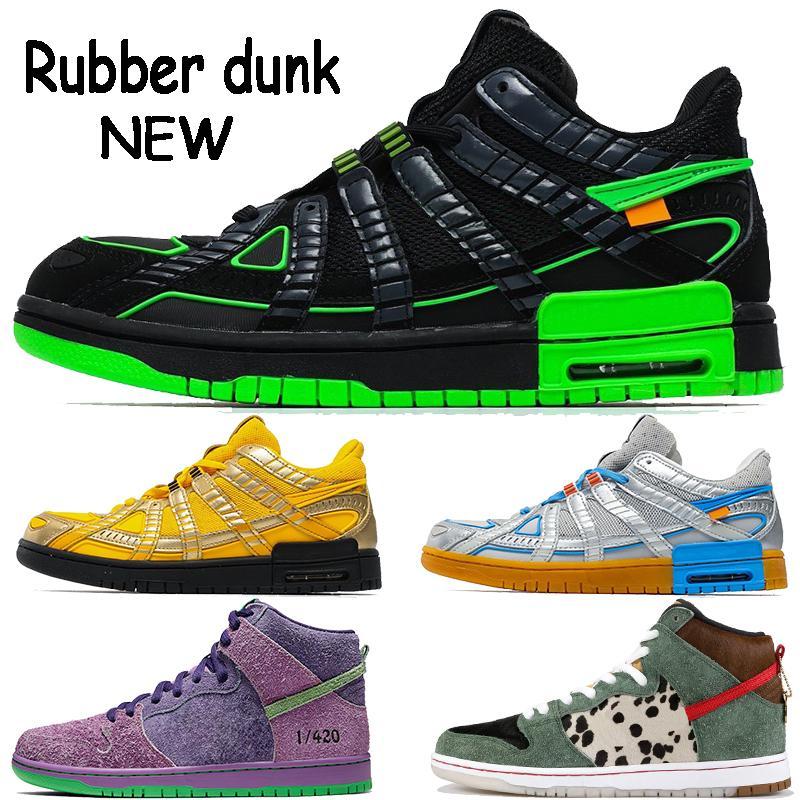 Nouveau dunk en caoutchouc blanc x chaussures pour hommes occasionnels université noir volt or argent chien bleu marcheur hommes de haute qualité de formateurs baskets femmes