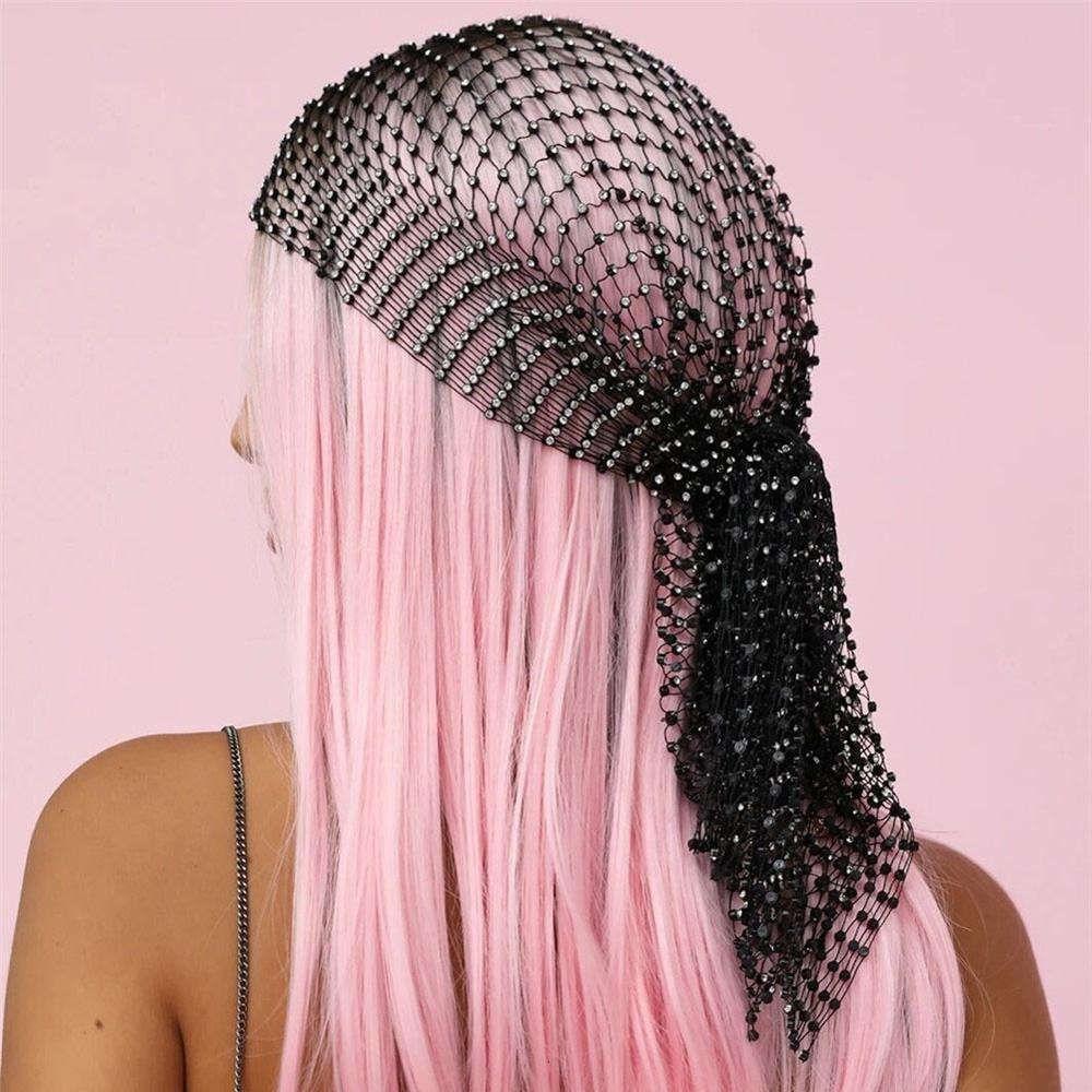Neue Mode Frauen Bling Strass Kopf Schal Turban Hut Stirnband Kristall Mesh Cap Hair Snood Nets Kopfschmuck Headwear Accessorie