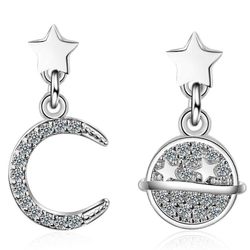Shqiyayi 925 серебряная луна звезды женщины свисают серьги мода мода женские партии ювелирные изделия асимметрия корейский день матери подарок 822
