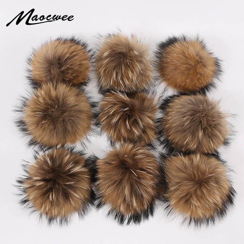 Veramente naturale pelliccia animale Pom Raccoon capelli della sfera 15 centimetri grande Pompon con fibbia spilla pin Berretti cappelli lavorati a maglia Cappelli Accessori