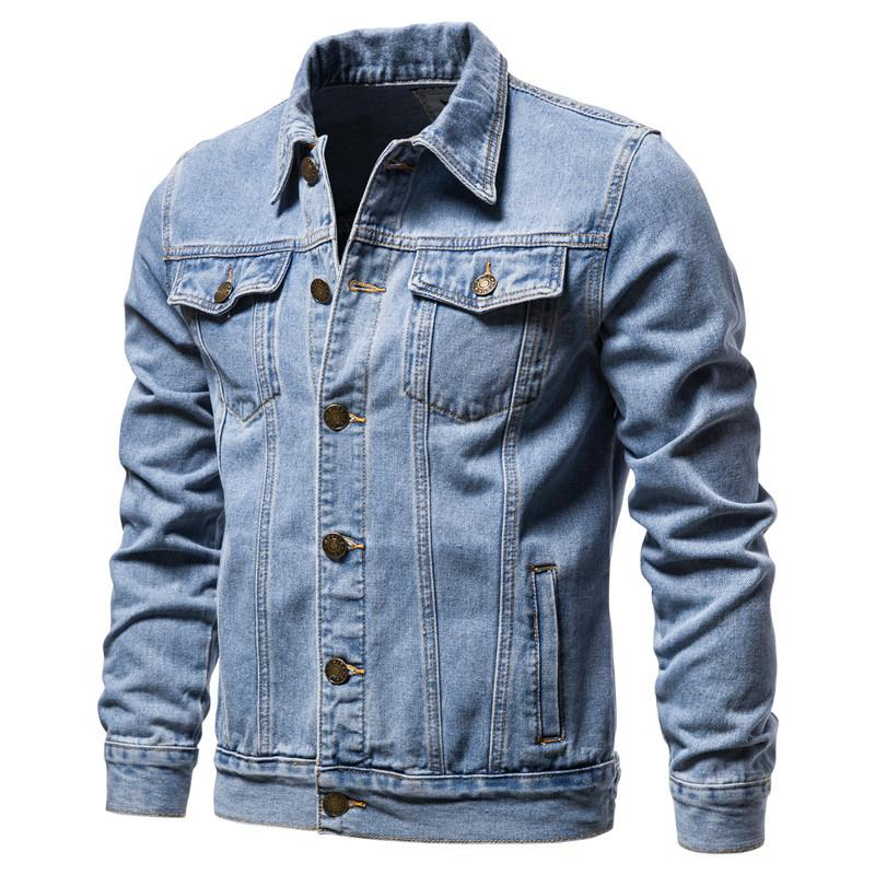 New 2020 Cotton Denim Jacke Men Casual Solid Color-Revers Einreiher Jeans Jacket Men Herbst Slim Fit Qualität Herren-Jacken