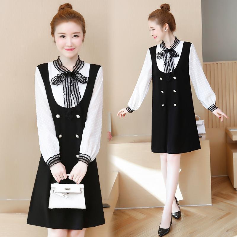 Плюс размер жирной рубашки в блузке лоскутная работа бизнес-дамы тонкого винтажного платья 1ke7