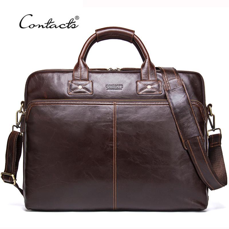HBP CONTACT'S 2020 Genuine Leather Men's Travel Casual Shoulder Totes Men Briefcases Laptop Bag Large Capacity Messenger Bags Q0112